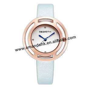 Dress Watch Rose-Gold-Case Fashion Women Quartz RE048 Hollow-Out Wholesale