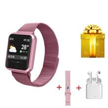 P68 Smart Armband + Oortelefoon + Riem/Set Armband Smart Horloge Vrouwen Fitness Tracker Polsband Voor Xiaomi Band 4 huawei Honor Band 4