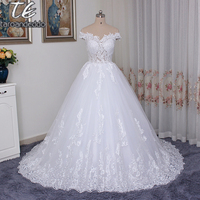 Off The Shoulder Sheer Bodice Lace High Quality Wedding Dress Ball Gowns Applique Lace Bridal Gowns