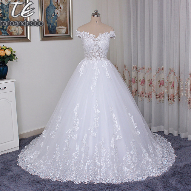 Off the Shoulder Sheer Bodice Lace High Quality Wedding Dress Ball Gowns Applique Lace Bridal Gowns robe de mariee
