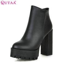 Qutaa/2017 Европейский Стиль пикантные ботильоны с круглым носком удобные ботинки женские сапоги на высоком каблуке размер 34–39