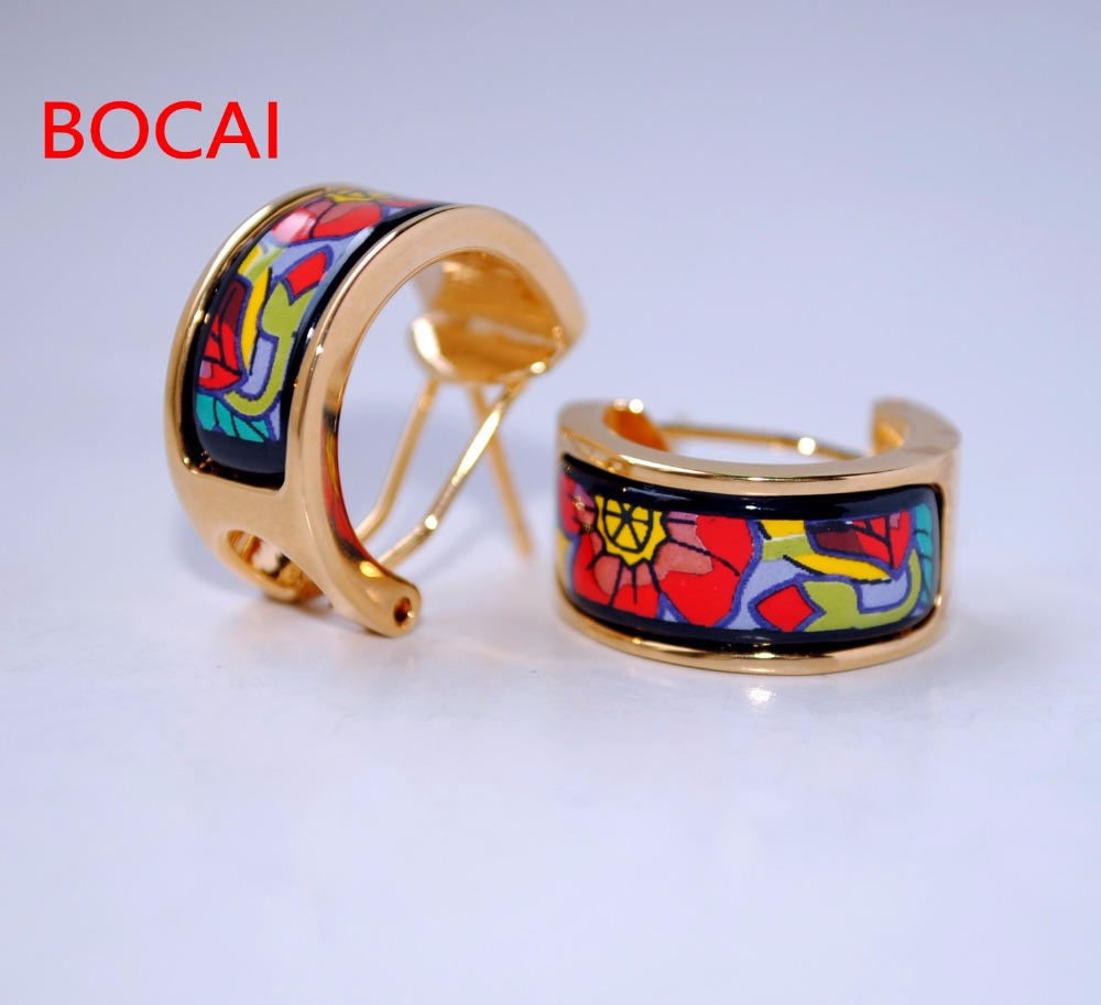 Cloisonne hand painted enamel color European style ear buckle 15