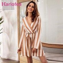 b0b09e7131 Karlofea mujeres otoño manga larga elegante vestido diario tira blusa Mini  vestido de la manera de señora de la Oficina Vestidos.