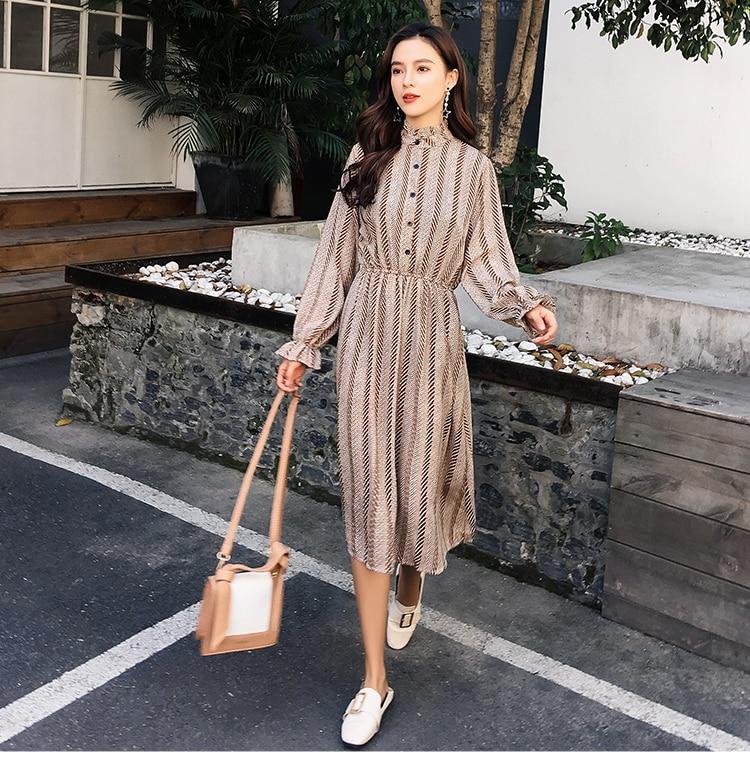 Women chiffon dress 2019 spring autumn female vintage print elegant a-line dress long sleeve loose casual office lady dress 6