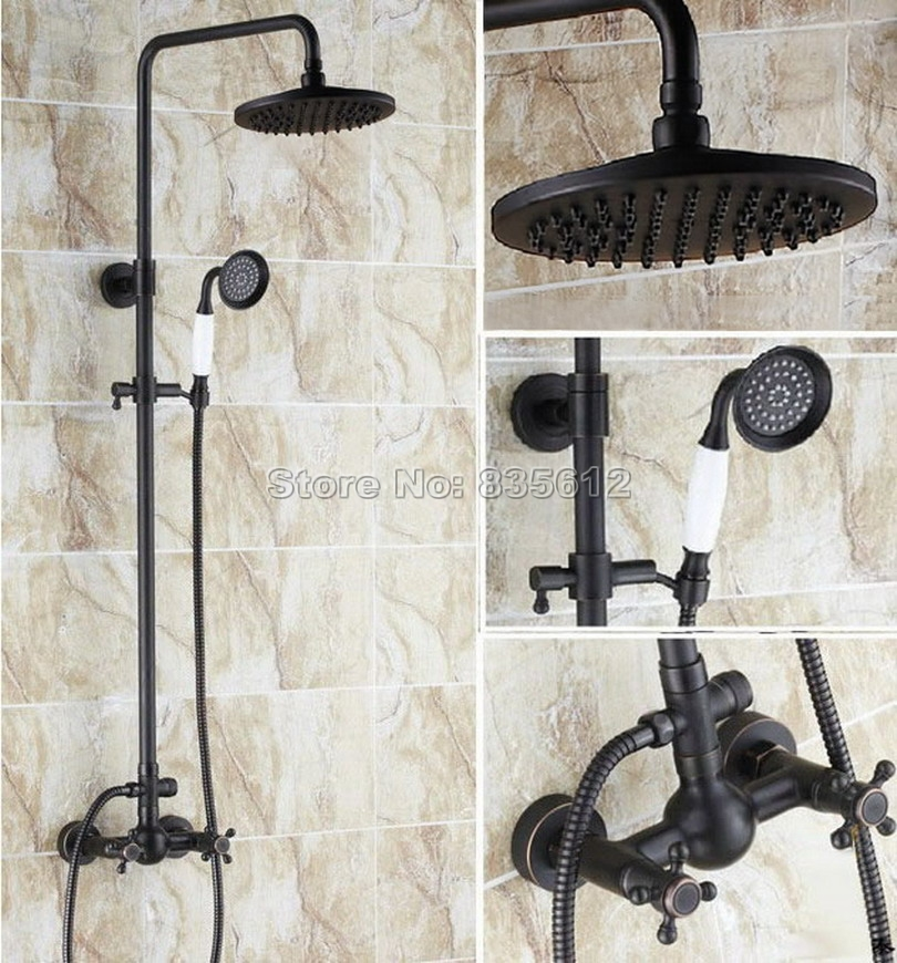 Bathroom Black Oil Rubbed Bronze Rain Shower Faucet Set with Handheld Shower Head / Wall Mounted Cross Handles Mixer Taps Wrs414