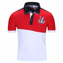 Mens cotton casual polo shirtsshort sleeve Polos with Pattern