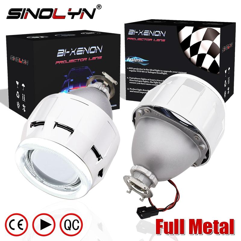 SINOLYN Upgrade Metal 2.5 inch Leader HID Bixenon Projector Headlight Lens W/ COB LED Angel Devil Eyes Halo H1 H4 H7 Retrofit цена