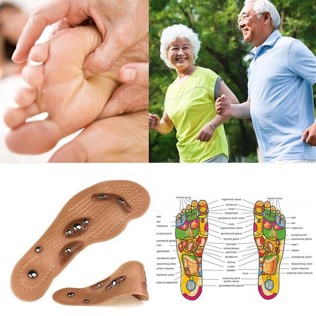 1 par de plantillas de adelgazamiento de acupresión magnetoterapia para masaje de pies terapia magnética dolor de pie antifatiga cuidado de los pies plantillas