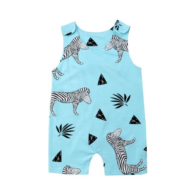 e8b94f1bc Newborn Infant Zebra Print Romper Kid Baby Boy Girl Sleeveless ...