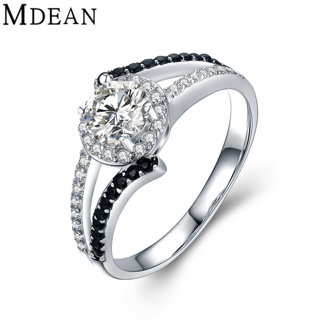 MDEAN Wedding Rings for Women Genuine 925 Sterling Silver Jewelry Solid Pure Black and Clear CZ Diamond Engagement Bague MSR470