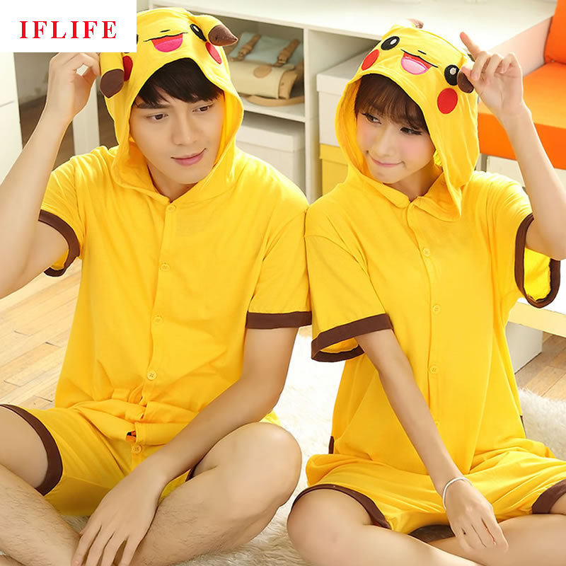 Summer Cotton Pajamas Animal Cartoon Cospaly Costume Short Pyjamas Unisex Family matching Onesie Hooded Sleepwear Yellow Pikachu