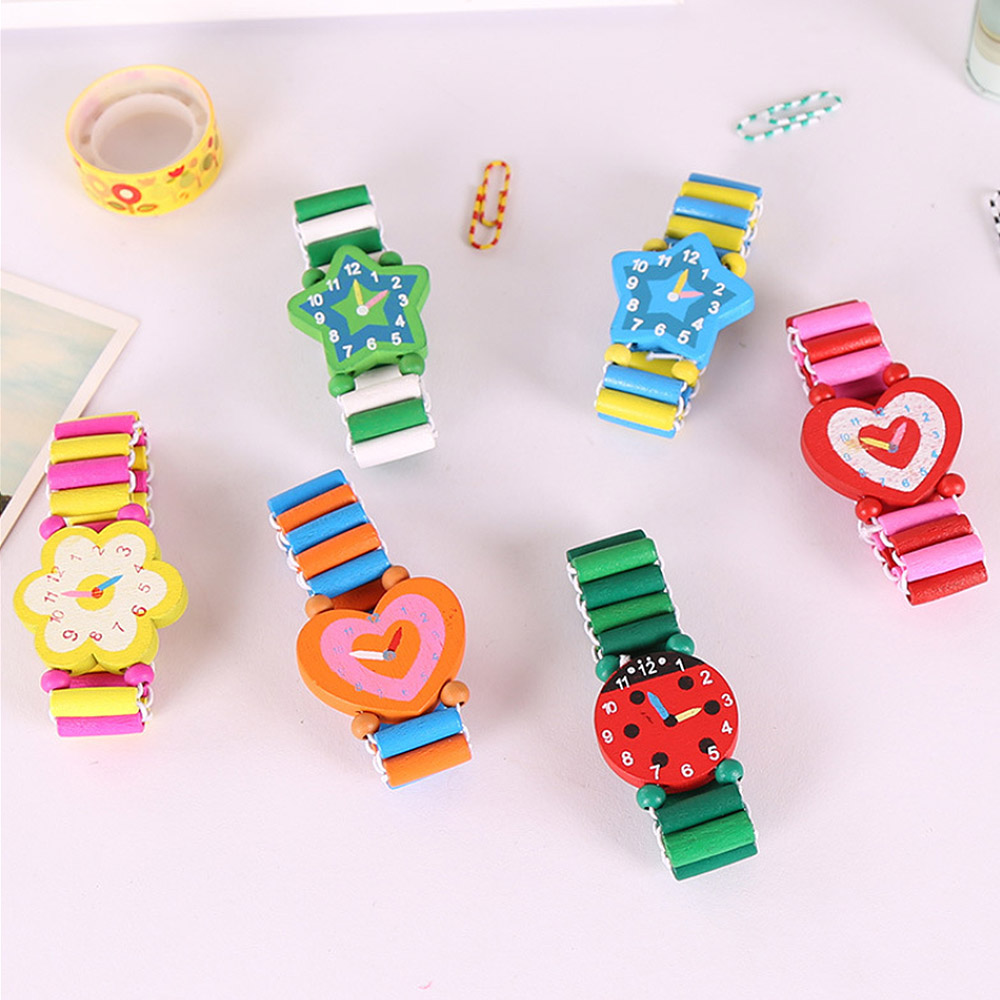 New Random Color Boys Girls Children's Cartoon Simulation Wooden Watch Student Stationery Gifts Crafts Bracelet Watch Toys
