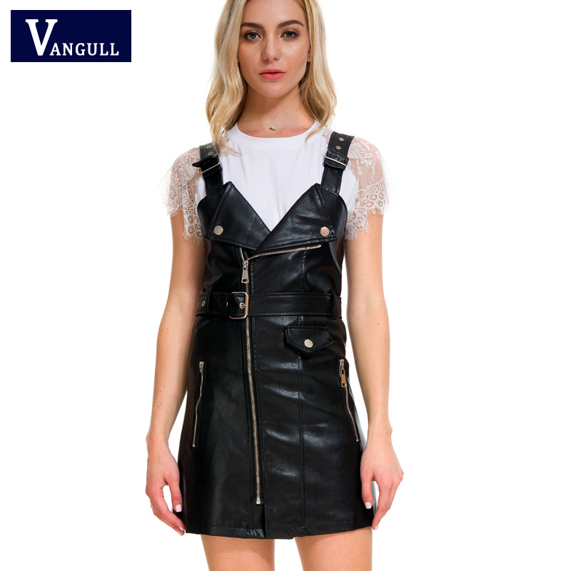 Vangull 2019 New Women Leather Dress Soft PU Faux Leather Dress V Nck Sexy Slim Retro Black Short Mini Dress Vestido De Festa