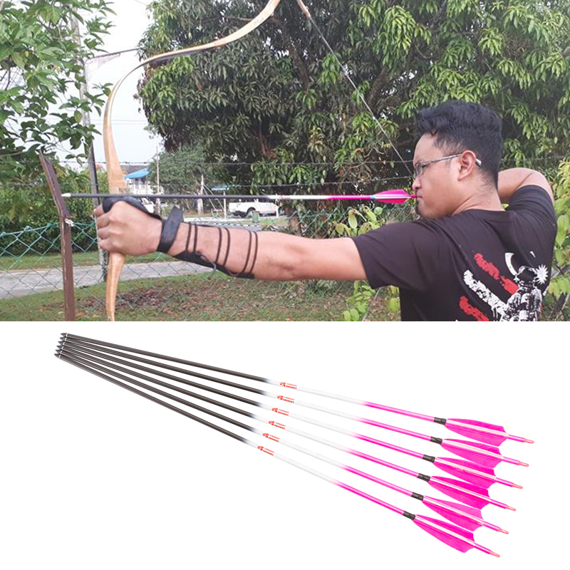 6 12PCS Linkboy Archery Carbon Arrows Pink Spine300 600 ID 6 2mm 75gr Arrow Point Compound