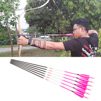 6/12PCS Linkboy Archery Carbon Arrows Pink Spine300 600 ID 6.2mm Turkey feather Compound traditional Bow Hunting Accessories