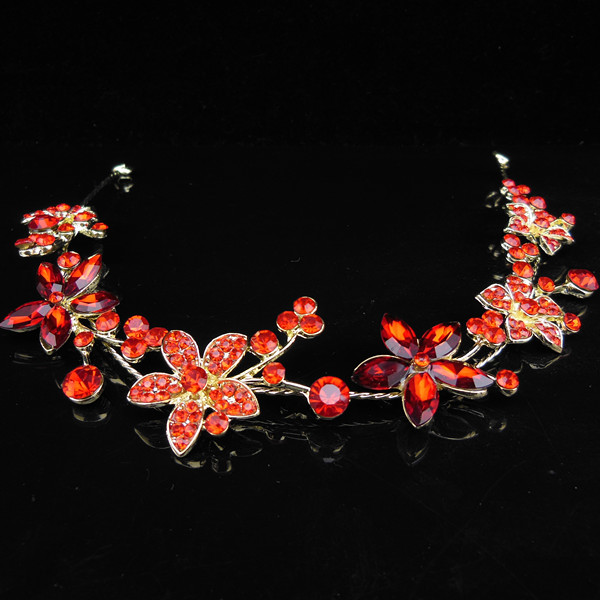 New Fashion Women Sassy Red Crystal Wedding Bridal Tiara Gold Crown Hairband Headband hair Accessory