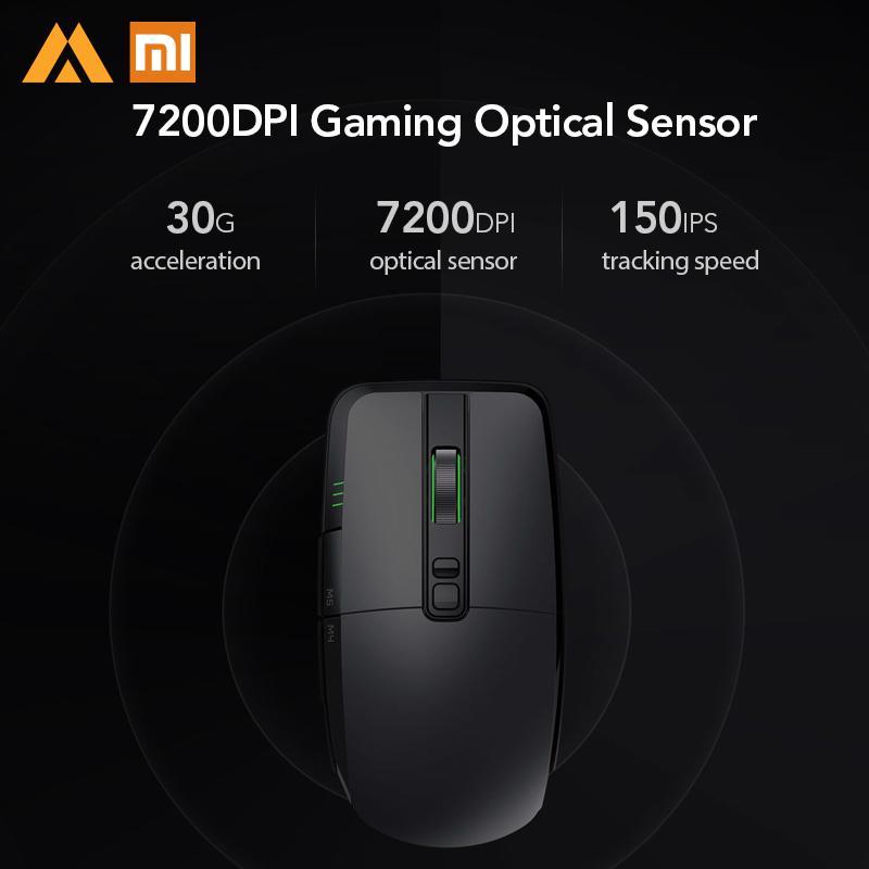 Original Xiaomi Mijia souris sans fil de jeu USB 2.4 GHz 7200 DPI RGB rétro-éclairage souris Gamer optique Rechargeable ordinateur