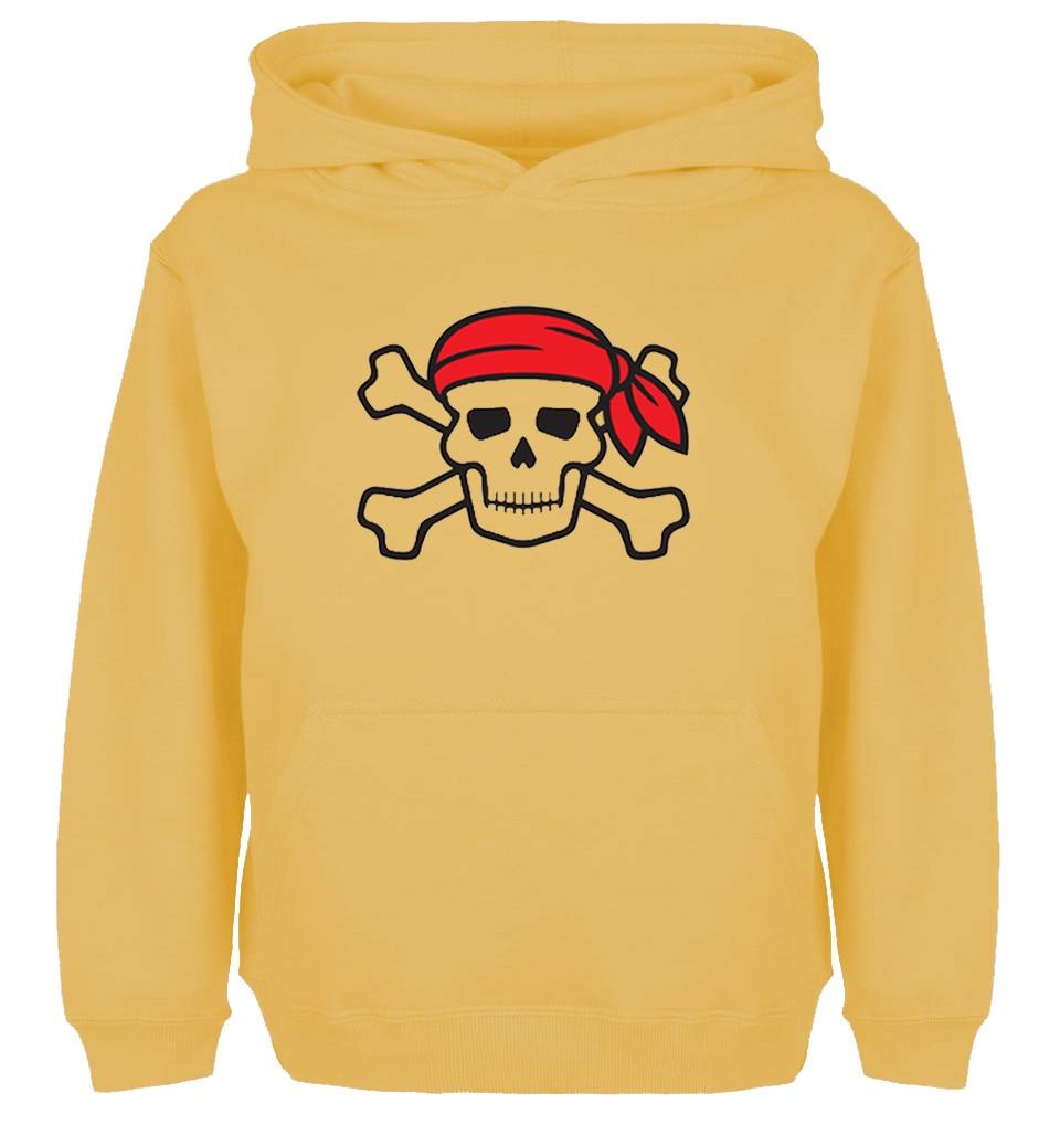 Cute Pirate Skull wearing a red scarf Design Hoodie Mens Womens Winter Cotton Printing Sweatshirt Tops