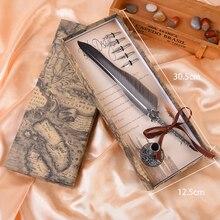 Получить скидку Античная красочные Перо DIP чернила набор канцелярских товаров в подарочной коробке с 6 СИБ свадьбы гусиное