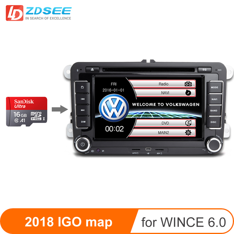 16GB GPS Map For Volkswagen 2 Din Car Radio Windows Ce 6.0 GPS Navigation Maps Free Update Europe/Russia/spain/middle East Etc