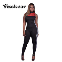 Yizekoar 2017 Women Black Long Rompers Summer Bodycon Tracksuit Patychwork Sleeveless O Neck Sexy Club Jumpsuits