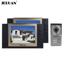 JERUAN 8 inch video door phone intercom system with video recording and taking photo 1 Camera 2 monitors system rain-proof