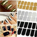 Smooth Nail Art Beauty Sticker Patch Foils Armour Wraps Decoration Decal Black Silver Gold 2015 New free shipping