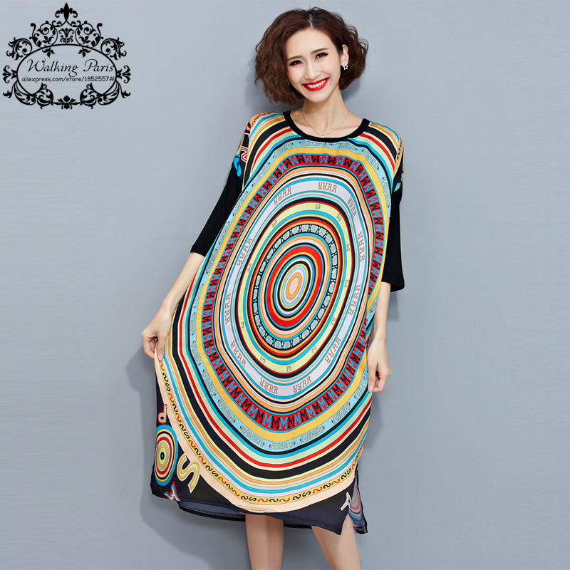 Women Summer Dress Plus Size Colorful Geometric Print ...