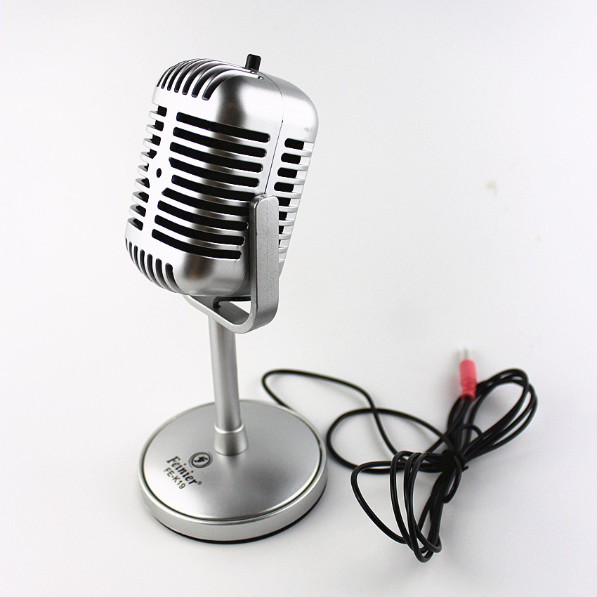 High Quality Satin Surface Plating Vintage Microphone Mini Microfon Wired Microfone For Sing Record on Computer 1
