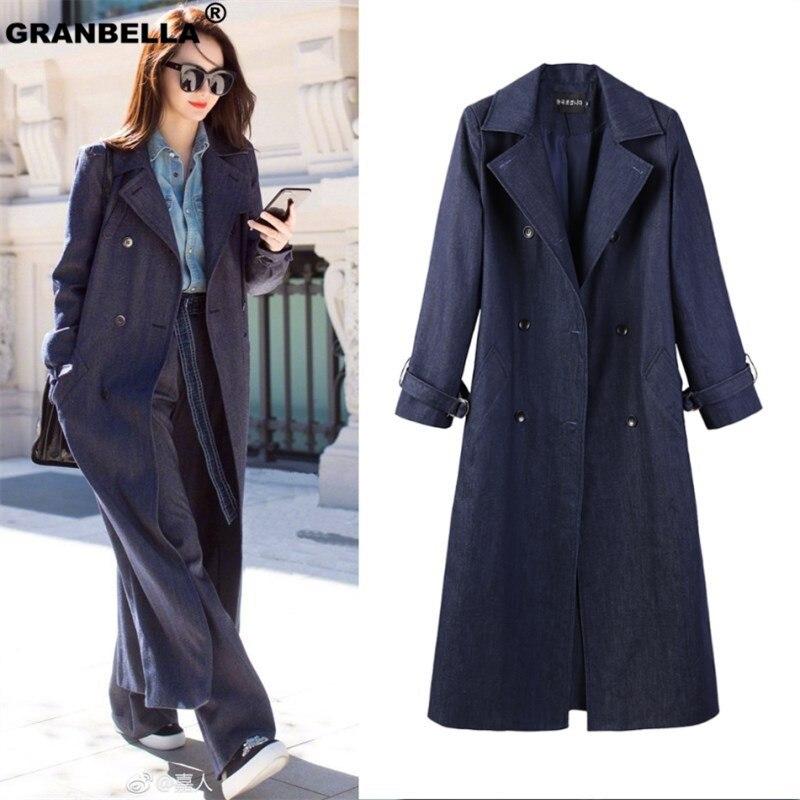 Runway style women's x-long denim   trench   coat streetwear casual loose spring fall outwear cowboy windbreaker