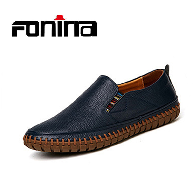 FONIRRA Men Genuine Leather Shoes Slip On Shoes Real Leather Loafers Mens Moccasins Shoes Casual Flat Shoes Loafers 712 dxkzmcm new men flats cow genuine leather slip on casual shoes men loafers moccasins sapatos men oxfords
