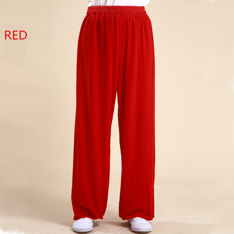 Man Woman Pleuche Velour Thick Tai Chi Clothing Kung Fu Pants Martial Art Taiji Trousers Wushu Winter Pants