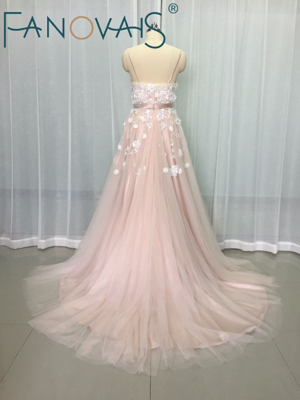 Vintage Blush Pink Wedding Dresses Flower Beads Beach Boho Bridal Gowns  robe de maree Elegant Wedding Gowns Tulle Wedding Dress 193e3efdf7b7