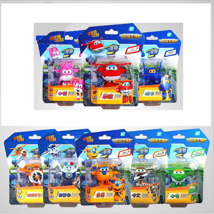 8pcs/set 7 cm Mini Super Wings Transformation Deformation Airplane Robot Action Figures, child Toys Gift superwings