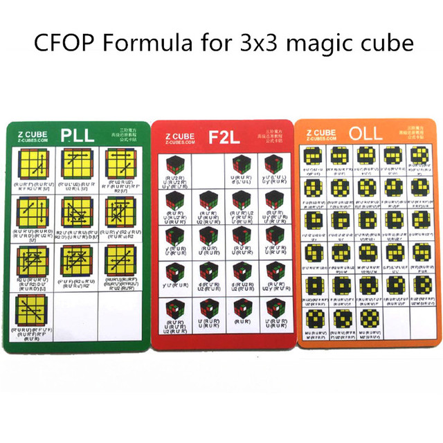 3 Sheets Set CFOP Formula For 3x3 Speed Magic Cube F2L PLL OLL Puzzle Cubes