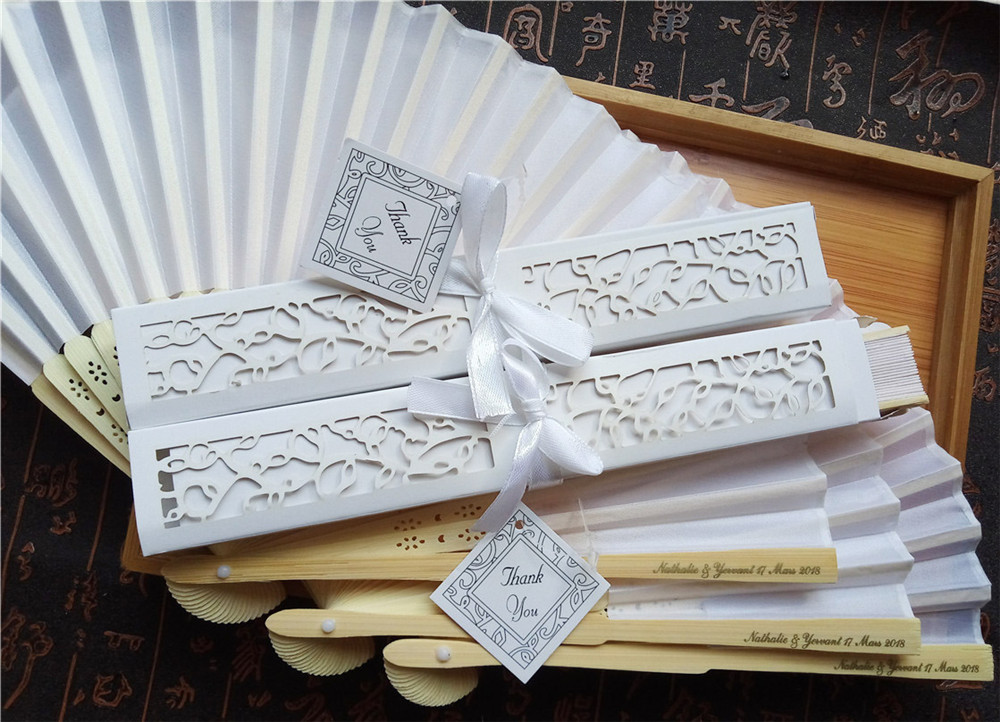200pcs Wedding Silk Hand Fan Customized Printing Bamboo Cloth Fold Fan With Gift Box Personalized Text