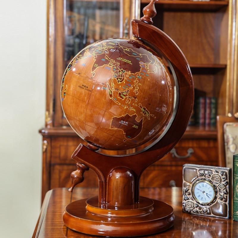 Large wood desk globe presidential upscale antique wooden ...