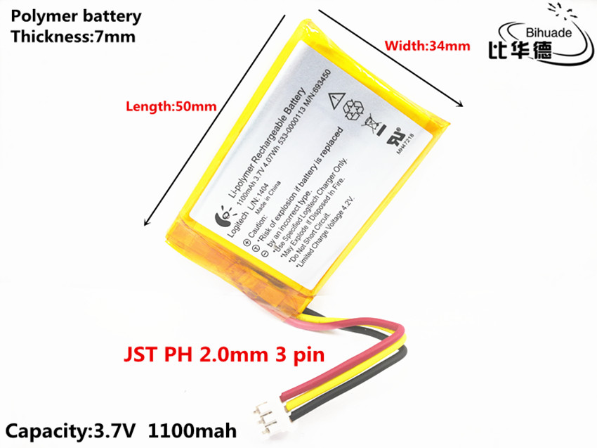 JST PH 2 0mm 3 pin Good Qulity 3 7V,1100mAH,703450 Polymer lithium ion /  Li-ion battery for TOY,POWER BANK,GPS,mp3,mp4