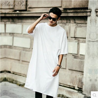 Extra long tee shirts for men hip hop clothing extra long shirts for men street dance clothing male extra long shirts CC138
