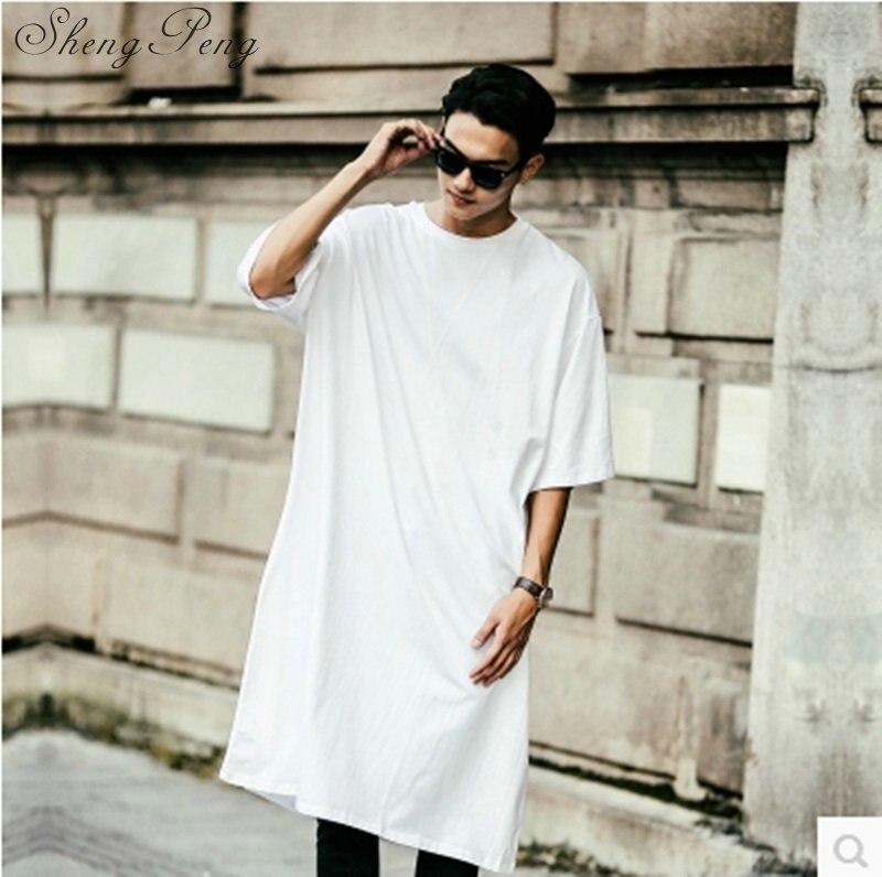 T-shirts Extra longs pour hommes vêtements hip hop chemises extra longues pour hommes vêtements de danse de rue hommes chemises extra longues CC138