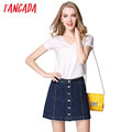 Tangada Summer Women Jeans Denim Skirt Button Plus Size Vintage Blue Short Mini Skirts Womens Female Fashion Casual Brand 2017