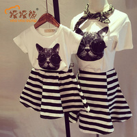 Family Matching Outfits 2pc Catty Girl Dress Stripe Mother And Child Dress Girls Clothing Casual Tee