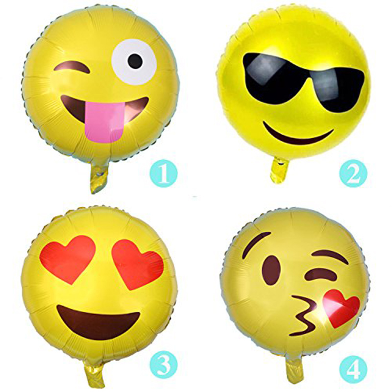 4pcs/lot 18 Expression Package Aluminum Film Balloon Face Aluminum Foil Balloon Smile Face Birthday Party Celebration Mi7