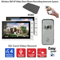 Wireless WiFi IP Video Door Phone Video Recording Intercom System 9 LCD Monitor 700TVL IR Camera Support Android iPhone APP 1V2
