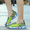 New comfortable breathable women shoes super light women flats brand women casual shoes mixed colors women handmade weave shoes