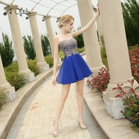 ADLN Royal Blue Bridesmaid Dresses Cute Women 2018 Sleeveless Short Vestidos Plus Size Sexy Maid of Honor Dress