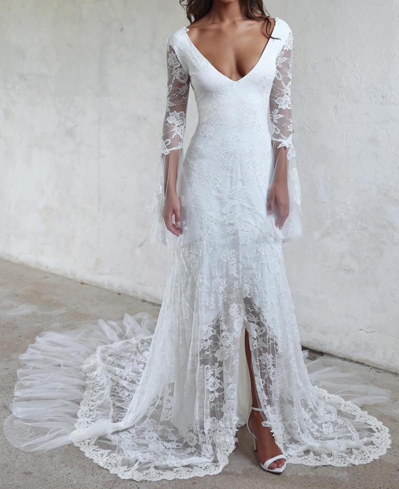 unique design vintage lace wedding dresses backless long sleeves beach wedding gowns split sexy bridal dress for women 2017 new