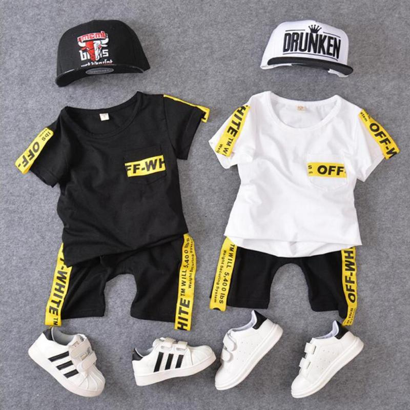 Children's tracksuit Summer boys clothes set Short Sleeve Boy T-shirt Pants Suit Clothing Set Kids Sport Suits Boy Clothes D3