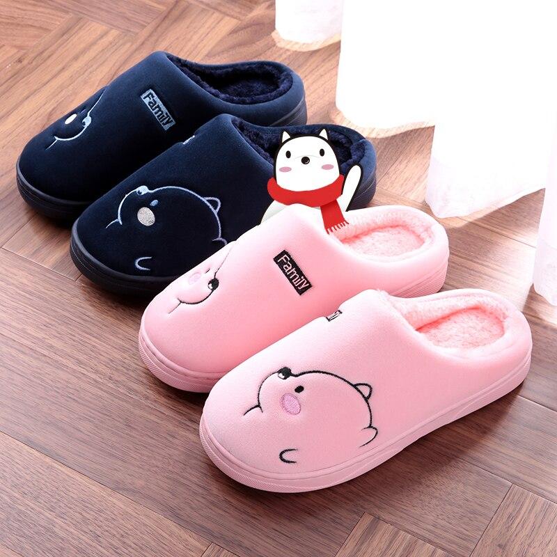 Cartoon Bear Winter Women Slippers Fashion Animal Home Fur Slippers Slip On Warm House Shoes Men Women Lovers Indoor Shoes