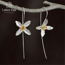 Lotus Fun réel 925 argent Sterling naturel fait à la main bijoux fins Vintage poétique trèfle mode boucles d'oreilles pour les femmes Brincos